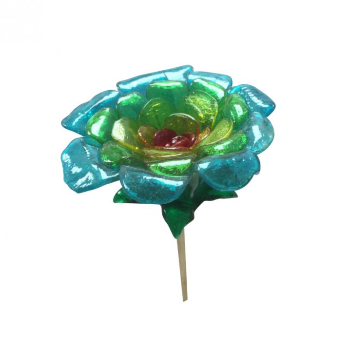 Flor celeste y verde
